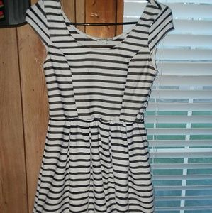 Black and white striped dress with soft tan layer